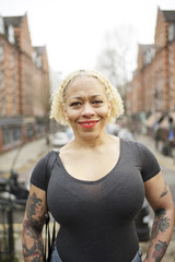 Portrait of a mixed race woman in an urban street