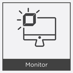 Monitor icon isolated on white background