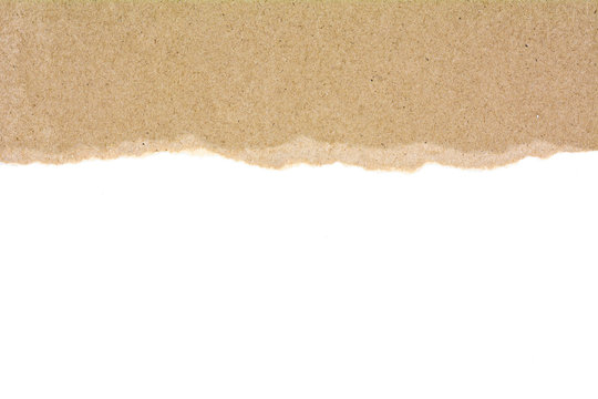 ripped at a brown recycled paper isolated on white background