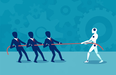 Flat design of human against robot