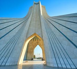 The architecture of Azadi Tower in Tehran, Iran
