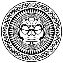 Polynesian tattoo design mask. Frightening masks in the Polynesian native ornament