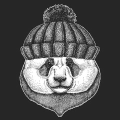 Cute animal wearing knitted winter hat Panda bear Hand drawn image for tattoo, emblem, badge, logo, patch, t-shirt