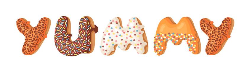 Cartoon vector illustration donut and word YUMMY. Hand drawn drawing sweet bun. Actual Creative art work bake