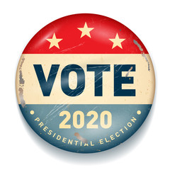 Vintage style 2020 United States of America Presidential Election Button - Vector EPS10