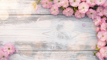 Panoramic spring background, empty frame of pink blossom on old wooden board with copy space