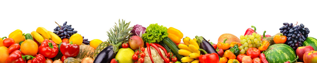 Wide collage of fresh fruits and vegetables for layout isolated on white background.