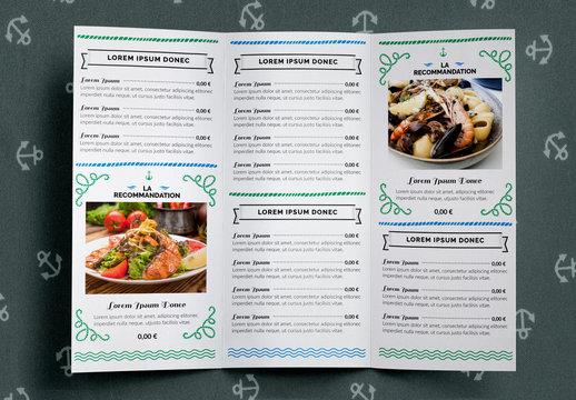 Jeu de menu de restaurant de fruits de mer
