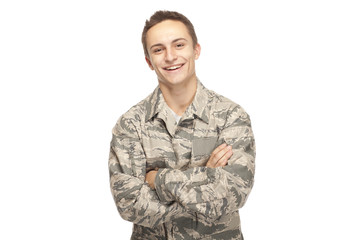 Happy air force airman with arms crossed