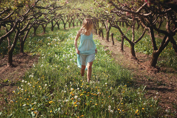 Woman walking among flowers
