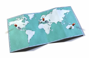 Cartina mondo, disegnata illustrata pennellate, cartina geografica, fisica. Segnaposto sulla mappa Wall mural