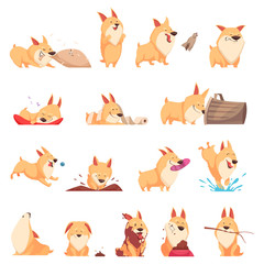 Cartoon Cute Puppy Set