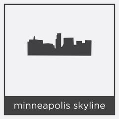 minneapolis skyline icon isolated on white background