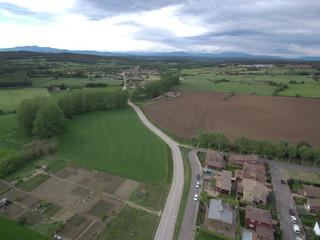 Drone en Pubol, castillo de Gala, sepulcro de la mujer de Dali. Pueblo del Emporda  en Gerona, Costa Brava (Cataluña,España). Fotografia aerea con Dron.