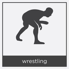 wrestling icon isolated on white background
