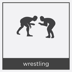 wrestling icon isolated on white background