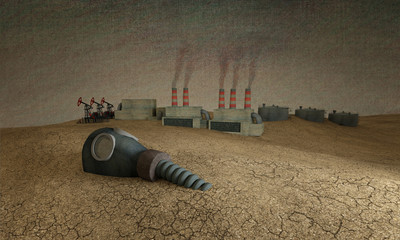 3d illustration. An old gas mask lies in the desert amid the industry. From the pipes goes dark smoke. Ecological problems.