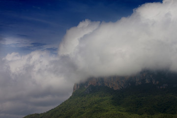 Landscape of big mountain with white cloudy on top under blue sky at Chong Sadao Kanchanaburi Province of Thailand.