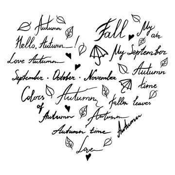 Autumn word phrase italic lettering typographic heart shaped ink hand drawn monochrome black and white art vector set