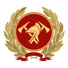 Color fire heraldry. Gold helmet and axes against the background of a round red shield. Around the laurel branches of the winner. Vector graphics.