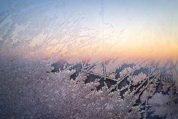 Frost on a window on a winter morning.