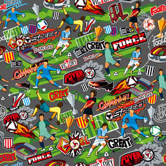 Seamless color pattern on a football theme on a gray background. Football attributes, football players of different teams, balls, stadiums. The style of graffiti. Vector graphics