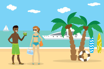Cartoon couple teenagers on the beach,african american boy and european girl
