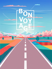 "Summer travel road trip, mountain, sky airplane, paradise, rural landscape painting vector pop art wallpaper, ""bon voyage"", t shirt print nature abstract"