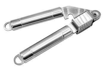 Garlic press on white background