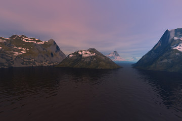 Arctic islands, a polar landscape, dark waters in the sea and a  cloudy sky.