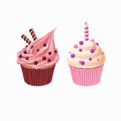 Vector two cupcakes, tasty cakes for celebration of birthday. Sweet pastry with candle, delicious homemade confectionery with cream, glaze sugar. Baking product isolated on white background
