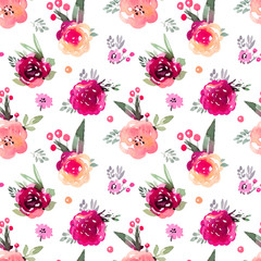 Decorative floral marsala  seamless pattern