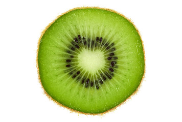 Slice of fresh kiwi fruit isolated on white background. Top view.