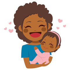 Cute African American mother holding her cute baby girl