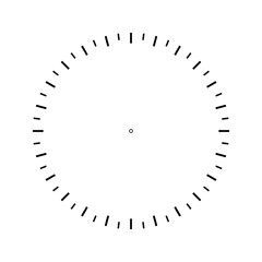 Measuring circle scale. Measuring round scale, Level indicator, measurement acceleration, circular meter, round meter for household appliances. 24 large divisions, 48 small. Vector AI10