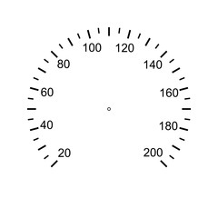 Speedometer face. Measuring circle scale. Measuring round scale, Level indicator, measurement acceleration, circular meter, round meter for household appliances division from 20 to 200. Vector AI10
