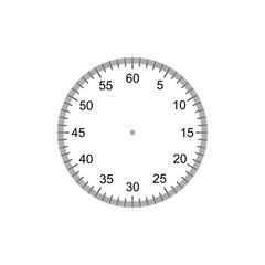 Measuring circle scale. Stopwatch dial. Measuring round scale, Level indicator, measurement acceleration, circular meter, round meter. 12 large divisions, 60 medium, 300 small. Vector AI10