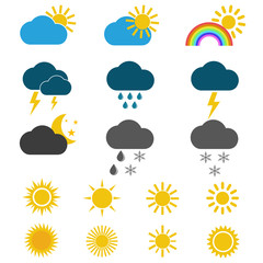 Weather icons on the white background.WEATHER FORECAST: Flat icons, pictogram and symbol collection.