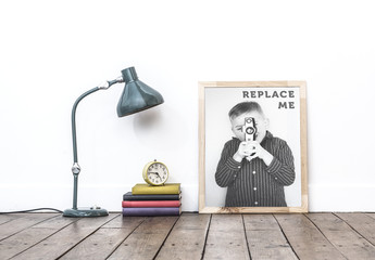 Wood Framed Photo with Books and Lamp Mockup