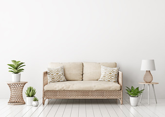 Home interior mock up with wicker rattan sofa, beige pillows, lamp and green plants in living room with empty white wall. 3D rendering.
