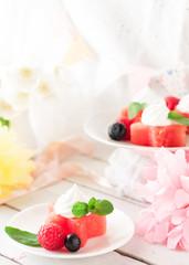 Watermelon stars with berries and ice cream, birthday decoration