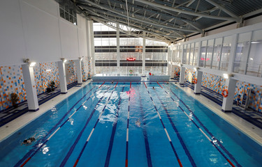 An interior view shows a swimming pool of the School of Olympic Reserve which was chosen to be the base for Panama's national soccer team during the 2018 FIFA World Cup in Saransk