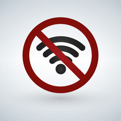 No or forbidden Wifi signal sign. vector illustration isolated on white background.