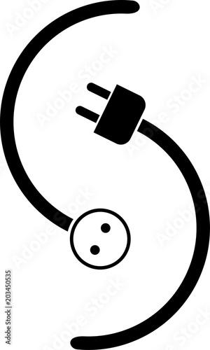 Stecker, Steckdose, Aufkleber Label, Elektriker Logo\