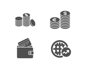 Set of Debit card, Currency and Banking money icons. World statistics sign. Wallet with credit card, Euro and usd, Cash finance. Global report.  Quality design elements. Classic style. Vector