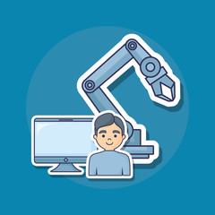 robotic arm with cartoon man and computer  over blue background, colorful design. vector illustration