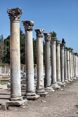 ancient city columns in Ephesus