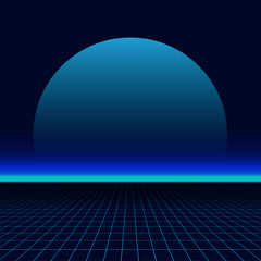 80s sun landscape futuristic. Sci-fi background 80s style. Use for any print design in 80s style