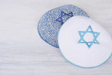Kippah with embroidered blue star of david
