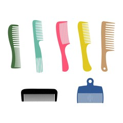 Vector illustration. Silhouette combs set, barber comb, colour plastic comb.